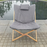 Lightweight and Portable Folding Butterfly Chair with Solid Beech Wood Frame