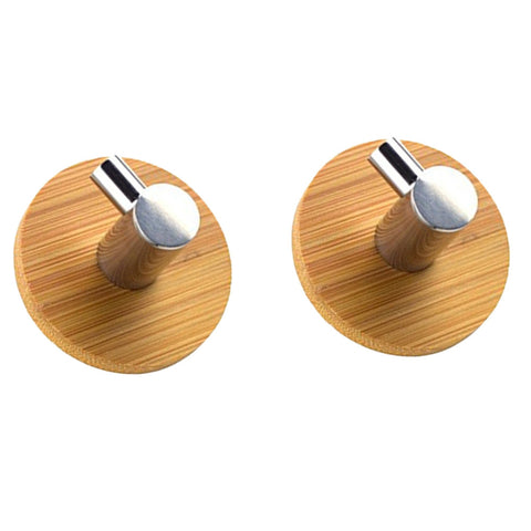L Shaped Adhesive Hooks Bamboo & Stainless Steel