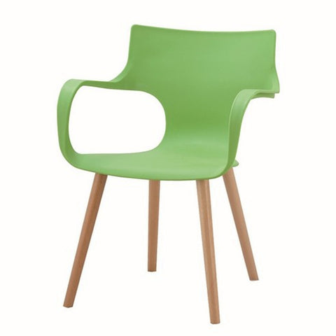 Armrest Moulded Plastic Chair with Wooden Legs