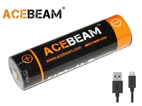 ** BACK IN STOCK ** ACEBEAM IMR 21700 with USB Port - 5100 mAh Lithium Battery - Doubles as a Power Bank - True Talon