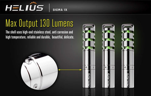 130 Lumens Flashlight - Helius - Sigma IX -  with Tritium Insert - True Talon