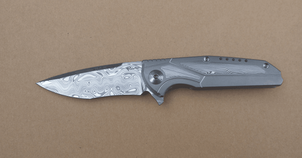 Reate Knives - K-4 DROP POINT KNIFE - DAMASTEEL Blade - Damasteel Inlay & Titanium Handle - SOLD OUT - True Talon