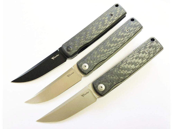 # ** HERE NOW - HAND RUBBED SATIN ** Reate Knives - BUSHIDO - 2.76 INCH M390 BLADE - TOP & FRONT FLIPPER - True Talon