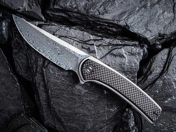 ** HERE NOW ** CIVIVI - C2002DS Asticus - DAMASCUS blade - Carbon Fiber over G10 Handle