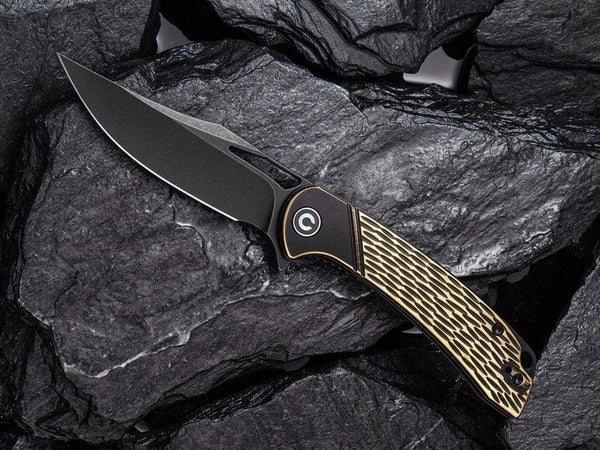 ** HERE NOW ** CIVIVI - C2005E Dogma - D2 blade - BLACK BRASS Handle - True Talon