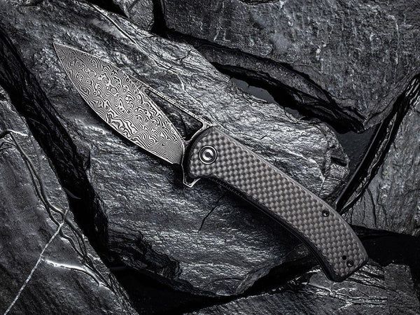 ** HERE NOW ** CIVIVI - C2024DS Riffle - DAMASCUS blade - Carbon Fiber or Sandal Wood Handle - True Talon