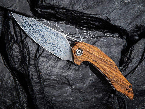 ** HERE NOW ** CIVIVI - C904DS-2 PLETHIROS - Damascus Blade - Golden Sandalwood Handle - True Talon