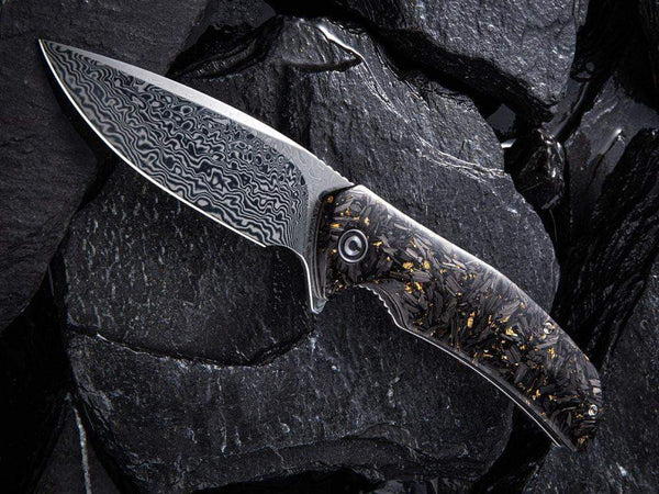 ** HERE NOW ** CIVIVI - C908DS INCITE DAMASCUS BLADE - Shredded Gold or Copper Leaf & Carbon Fiber Handle - True Talon