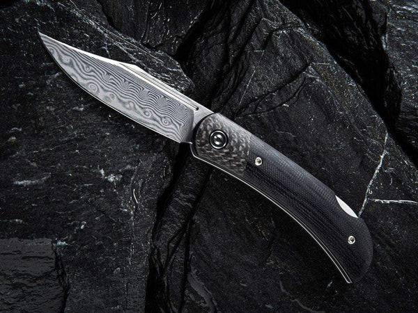 ** HERE NOW ** CIVIVI - C914DS Rustic Gent DAMASCUS - Lock Back - G10 or Micarta Handles & Carbon Fiber Bolsters
