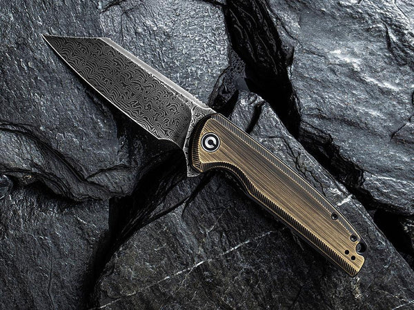 ** HERE NOW ** CIVIVI - C909DS-2 BRIGAND - BLACK DAMASCUS BLADE - BLACK HAND RUBBED BRASS HANDLE - True Talon