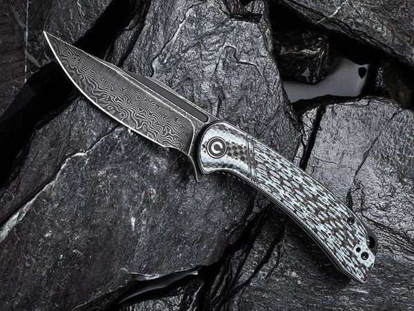 ** HERE NOW ** CIVIVI - C2014DS-1 Dogma -BLACK DAMASCUS blade - WHITE G10 & CARBON FIBER HANDLE - True Talon