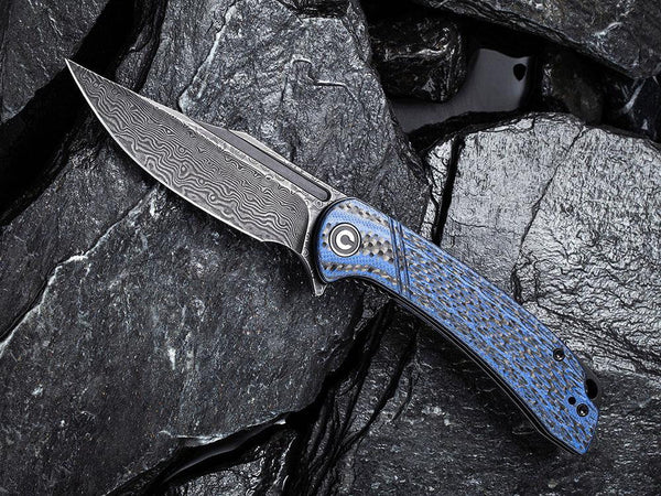 ** HERE NOW ** CIVIVI - C2014DS-2 Dogma - BLACK DAMASCUS blade - BLUE G10 & CARBON FIBER HANDLE - True Talon