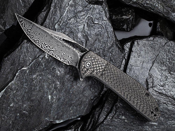 ** HERE NOW ** CIVIVI - C2013DS-1 ORTIS - DAMASCUS BLADE - CARBON FIBER HANDLE - True Talon