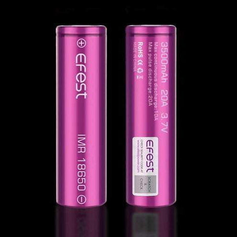 EFEST e-Cig IMR Li-ion Flat Top 18650 3500 mAh Batteries x 2 - FULLY CHARGED ! - True Talon