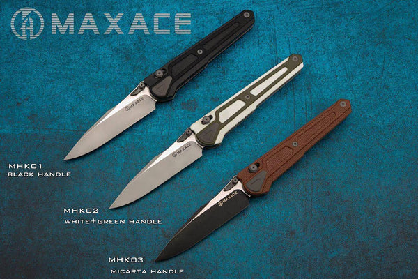 # ** HERE NOW ** MAXACE HERON-K- Bohler K110 Blade -  Titanium and G10 or Micarta - Axis Lock