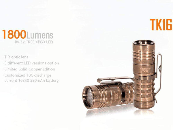 ** ALMOST GONE ** LIMITED EDITION - Acebeam TK16 - Solid Copper Body - 1300 to 1800 Lumens Flashlight - 5 Years Warranty - includes battery - True Talon