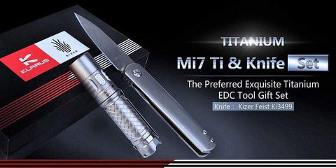 *** $180 LAST ONE *** Kizer Ki3499GB - Feist Titanium Knife & Klarus Mi7 Ti Titanium Flashlight Gift Box - True Talon