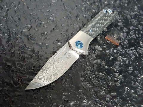 Liong Mah Designs - Lanny - Damasteel Blade & Carbon Fiber & Titanium Handle - True Talon