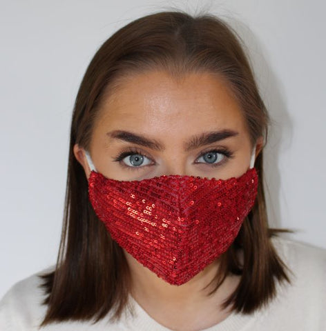 Face Mask - Sequins Red