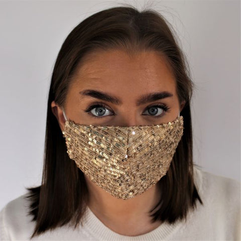 Face Mask - Sequins Gold