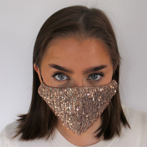 Face Mask - Sequins Rose Gold