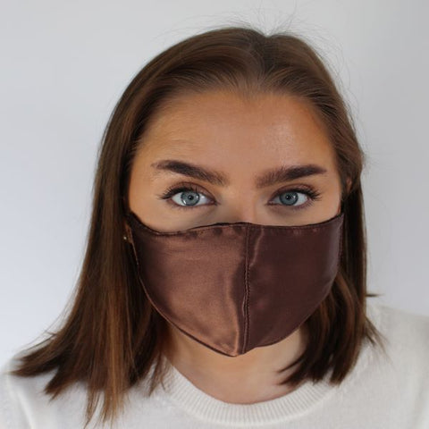 Face Mask - Silk, Reversible Brown / Black