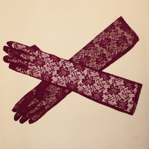 Lace Gloves Long - Plum