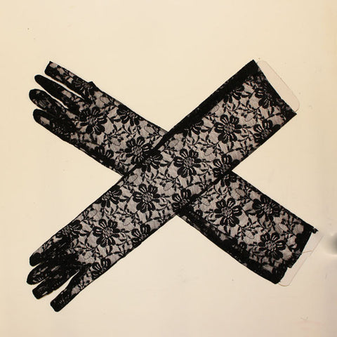 Lace Gloves Long - Black