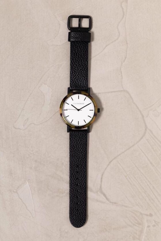 The Resin: Brown Tortoise Shell / White Dial / Black Leather - Sooki Boutique