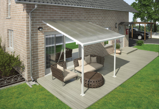 Aluminium Patio Cover - 3m x 3m White / Clear