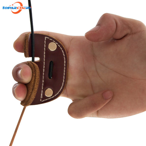 Archery Bow Arrow Hunting Shooting Finger Protector with Cow Leather Material Archery Finger Guard Protection Pad Glove Tab - Alpha Male Global