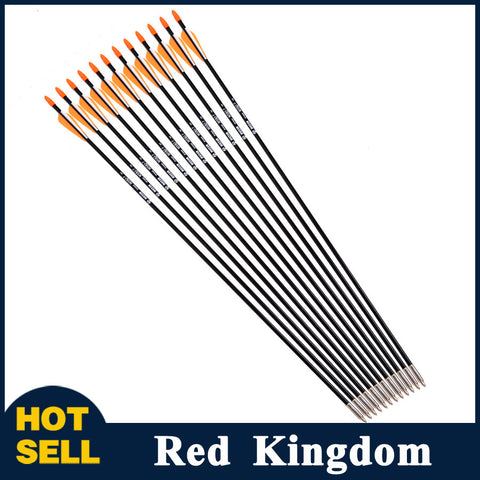 "12pcs/lot  31"" Spine 700 with Orange Feather Fiberglass Arrow for Recurve Bow Arrow or Long Bow Practice /Hunting - Alpha Male Global"