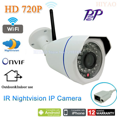 1280*720P 1.0MP Mini Bullet Wifi IP Camera ONVIF 2.0 Waterproof Outdoor IR CUT Night Vision P2P Plug and Play, free shipping - Alpha Male Global