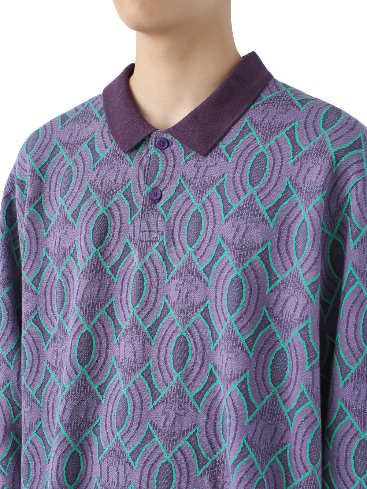 Jacquard Aztec L/SL Jersey Polo - thisisneverthat