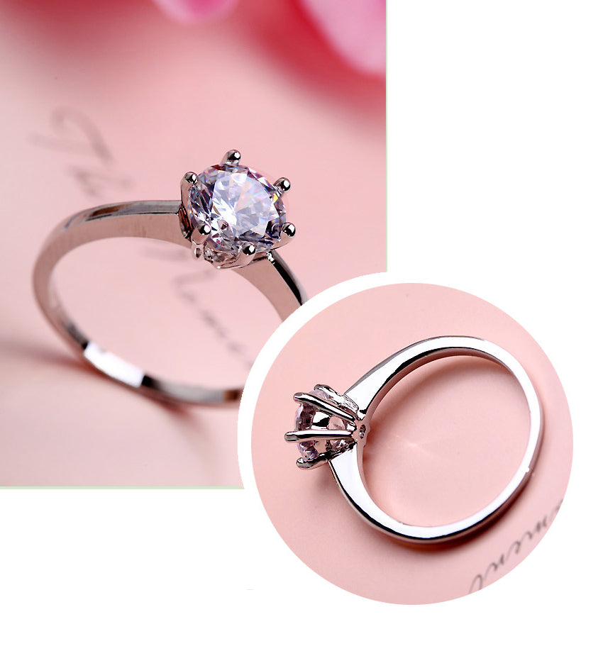 Solitaire Six Claw Titanium Engagement Ring w/ Swarovski Crystal - Zoey