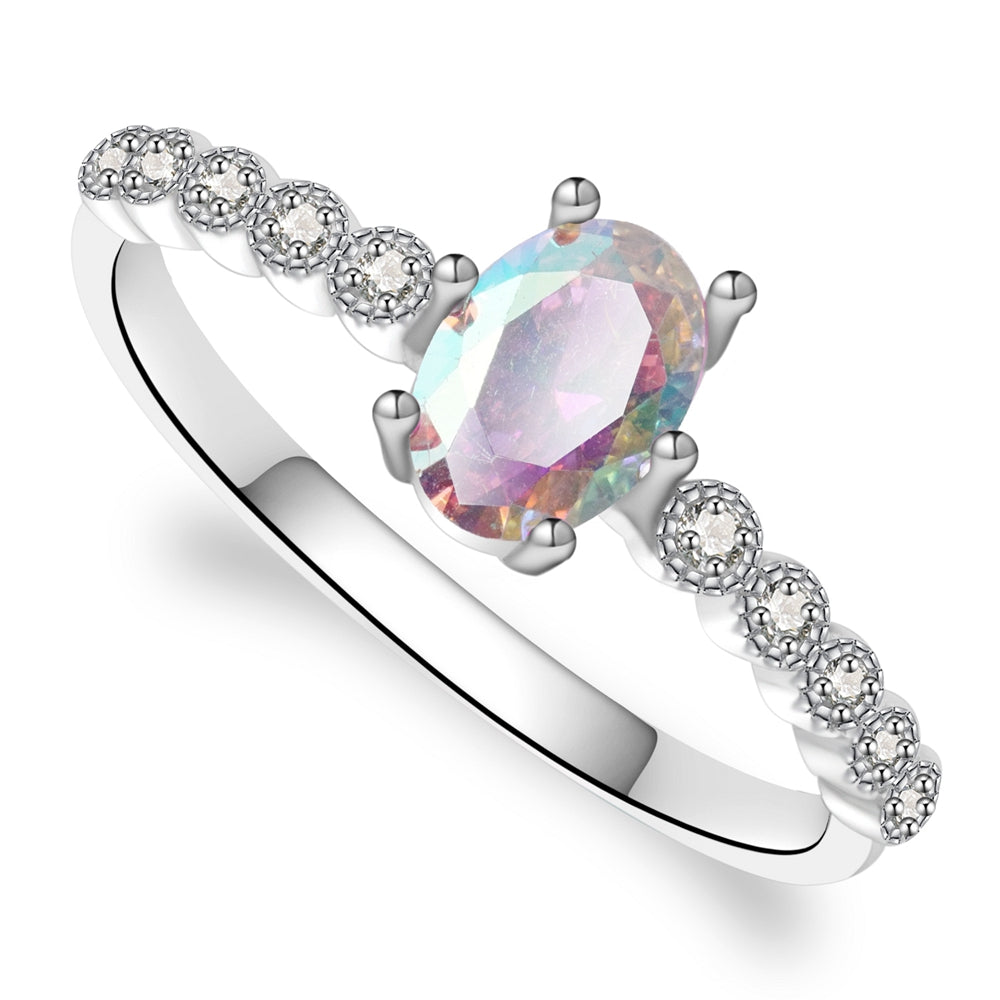 Scarlett Sterling Silver Ring With Aurora Boreale