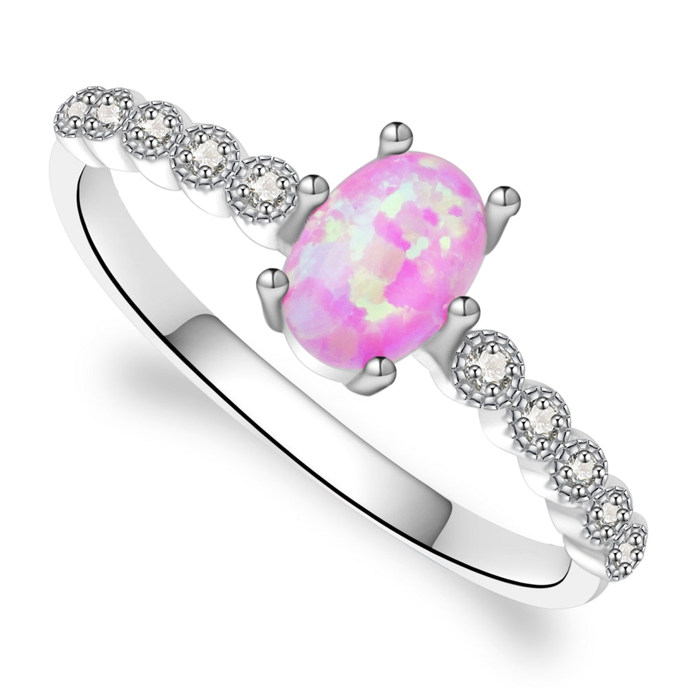 Scarlett Sterling Silver Ring With Pink Opal