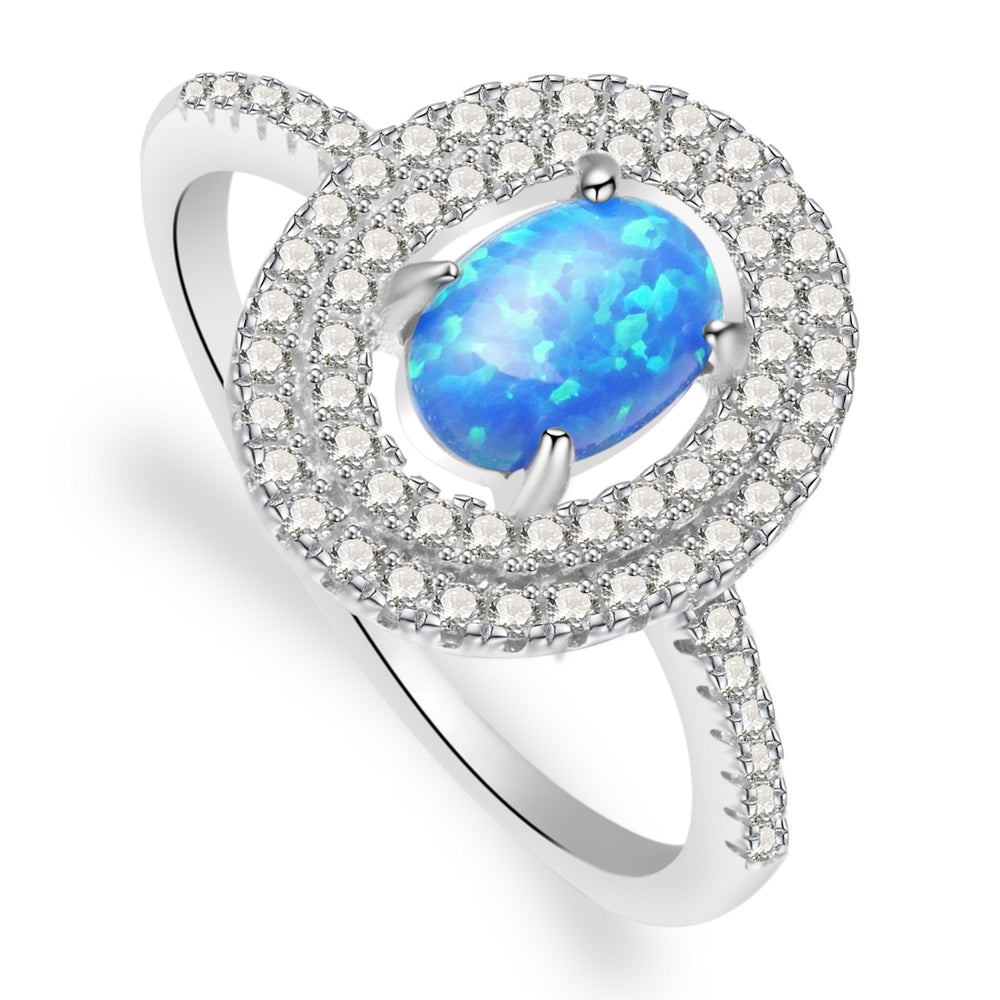 Anastasia Sterling Silver Ring With Blue Opal