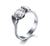 Flared Heart Titanium Engagement Ring with Swarovski