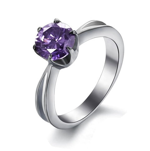 Solitaire in Amethyst Crystal Titanium Engagement Ring
