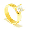 Crescent Gold Plated Groove Engagement Ring with Swarovski