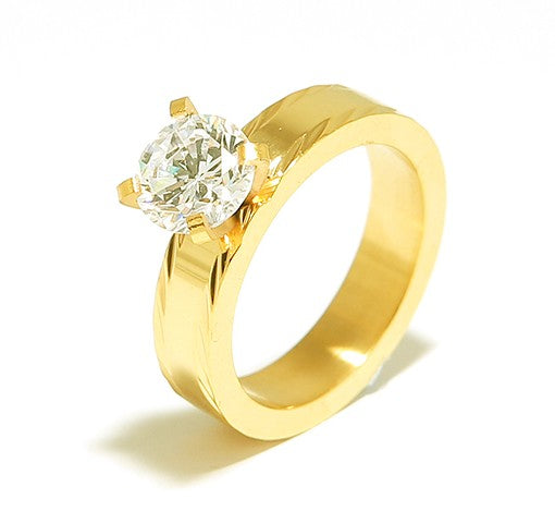 Crescent Gold Plated Polished Engagement Ring with Swarovski