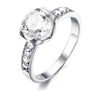 Brilliant Halo with Swarovski Crystals Engagement Ring