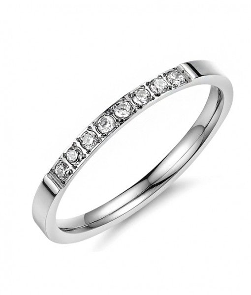 Sleek Half Eternity Ring with Swarovski Crystals in Silver