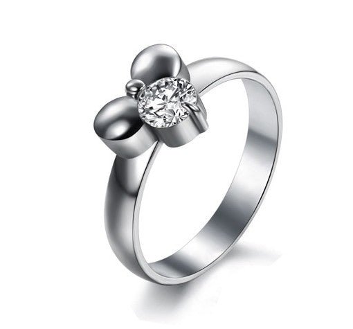 Mickey with Swarovski Crystal Titanium Engagement Ring