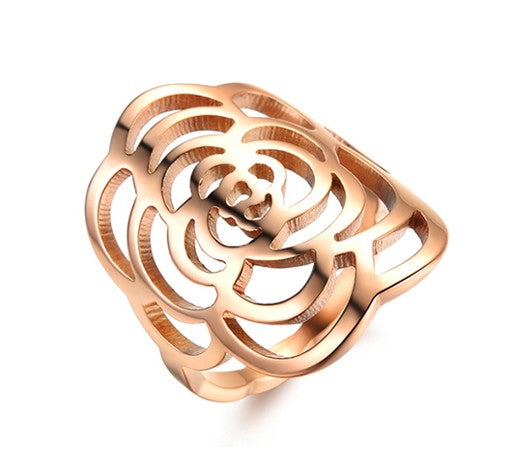 Rose Pattern in Rose Gold Plated Titanium Ring