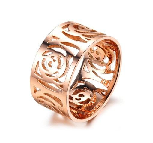 Flat Rose Rose Gold Plated Titanium Ring