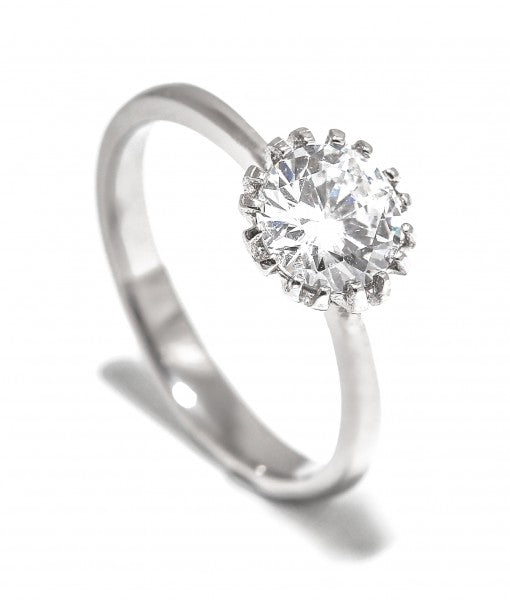 Crown Swarovski One Stone Titanium Engagement Ring