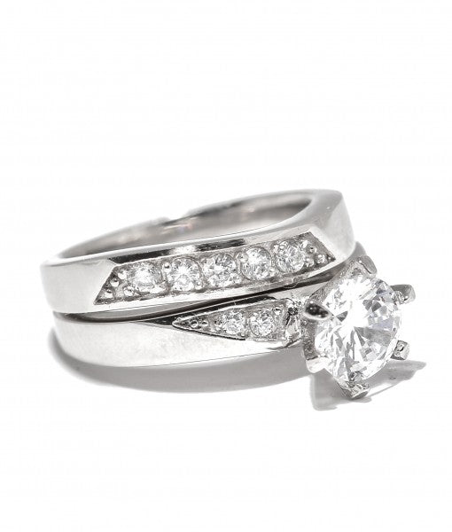 Bridal Set with Swarovski Titanium Engagement Ring