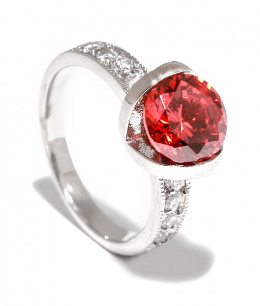 Brilliant Halo in Ruby Titanium Engagement Ring